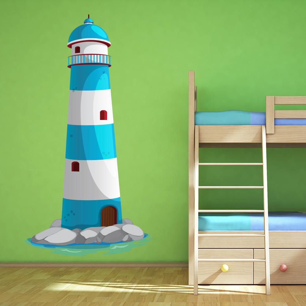 Blue lighthouse kids seaside colour wall sticker bathroom for Bathroom decor lighthouse