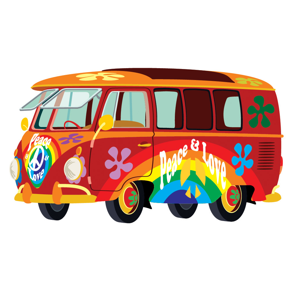 Red vw campervan wall sticker hippy peace cars wall decal for Campervan wall mural