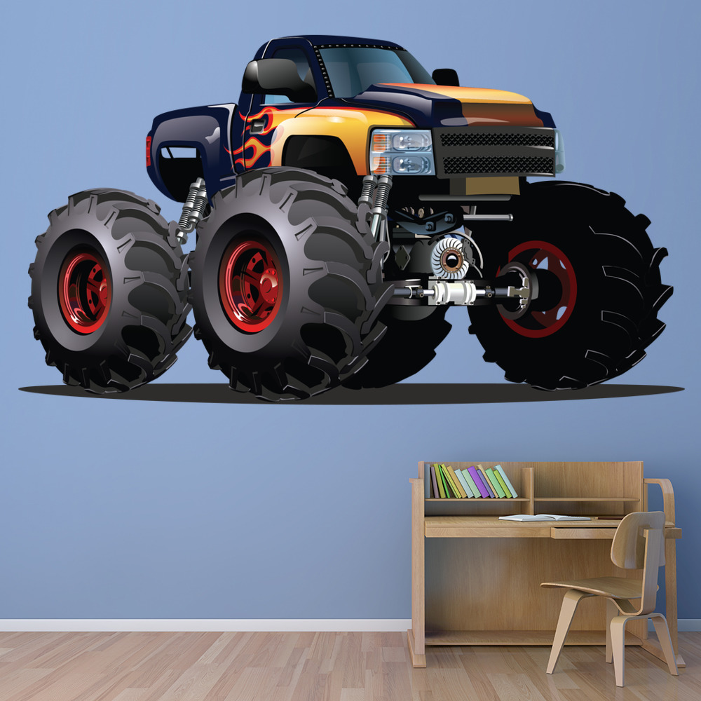 Marvelous Monster Truck Wall Stickers Part - 13: Black Yellow Monster Truck Wall Sticker Vehicle Wall Decal Boys Bedroom  Decor