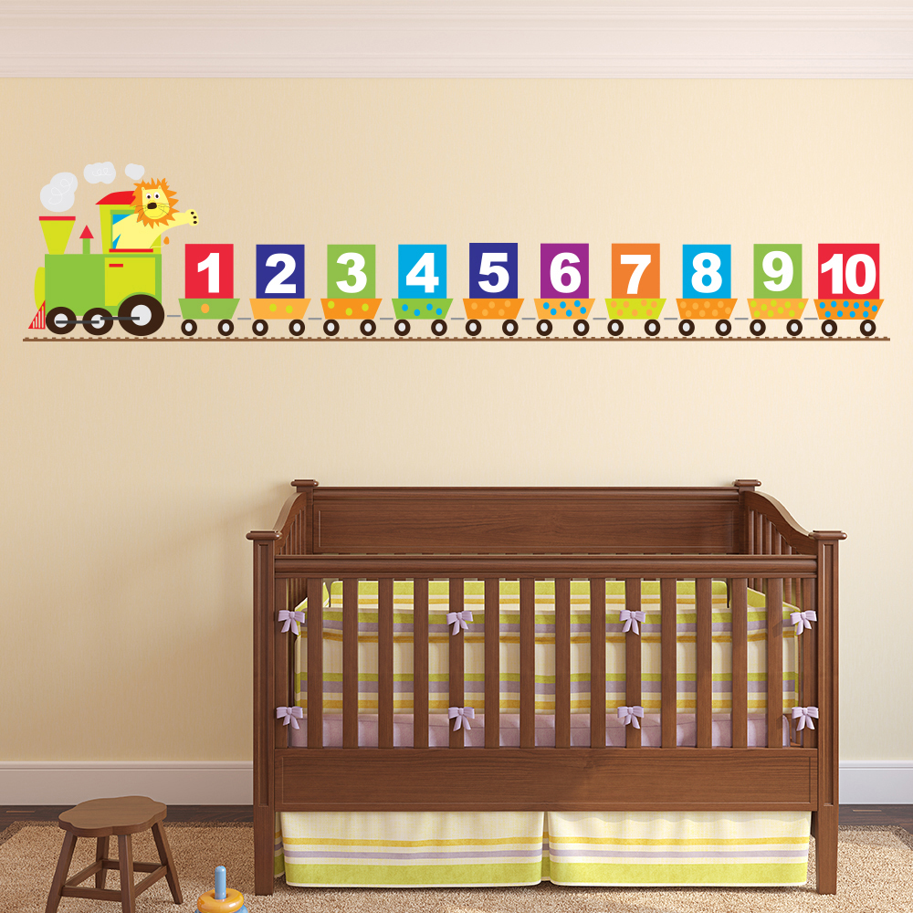Number train wall sticker lion wall decal baby nursery home decor ebay - Wall decor stickers online shopping ...