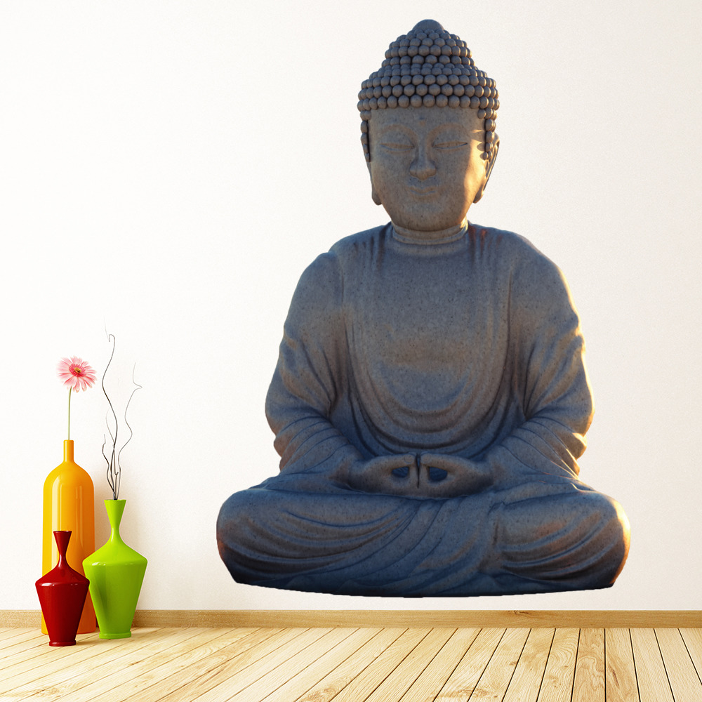 buddha wall sticker religious wall decal indian home decor art. Black Bedroom Furniture Sets. Home Design Ideas