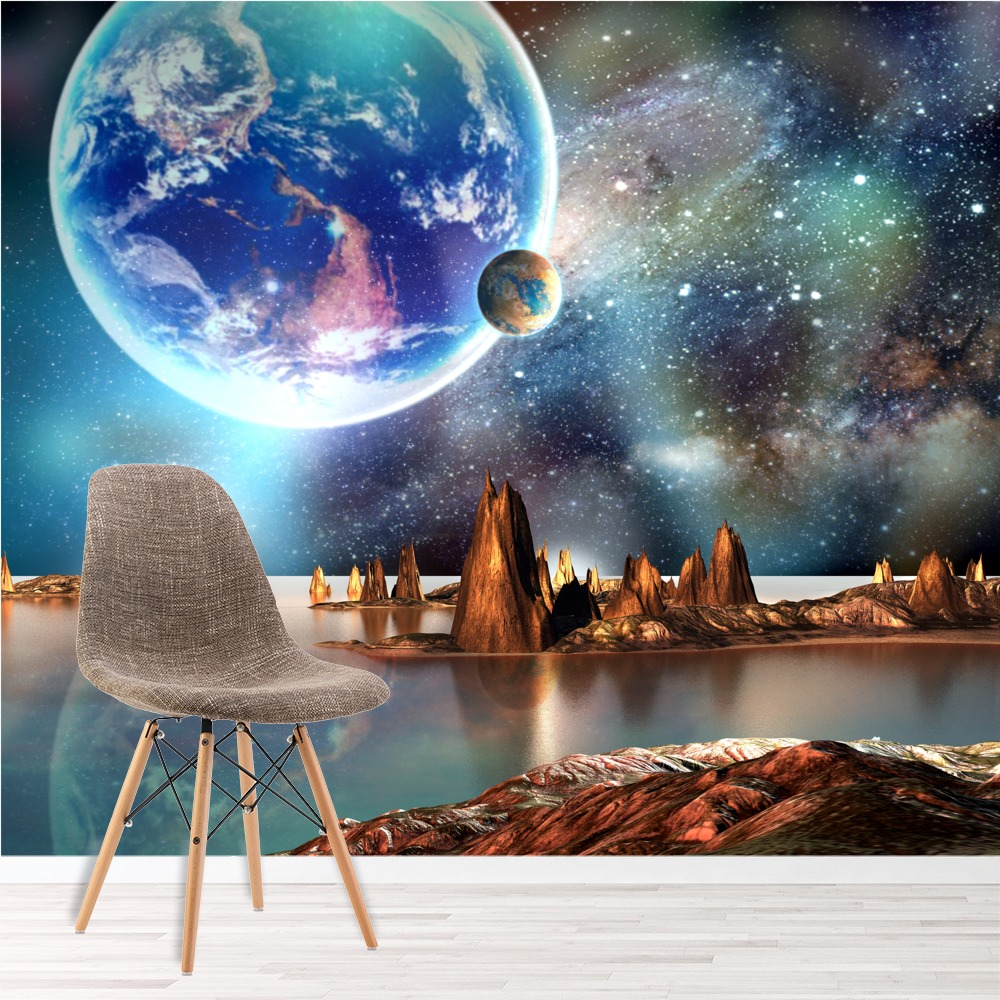 Alien landscape fantasy art planets space wall mural for Space wallpaper for kids room