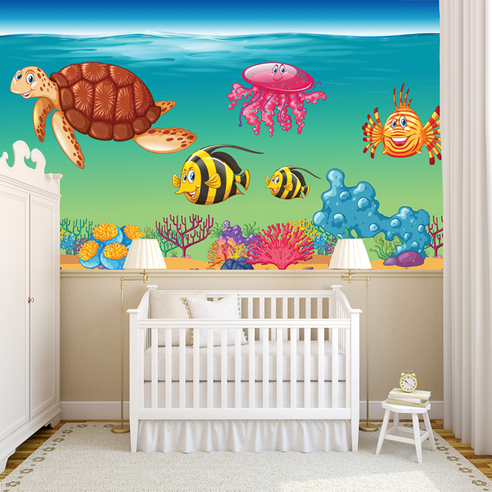 Marvelous Sea Animals Wall Mural Under The Sea Photo Wallpaper Kids Bedroom Home Decor