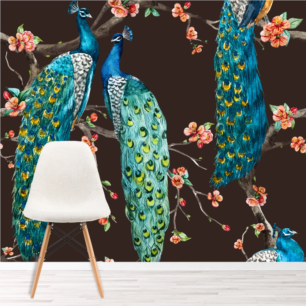 Blue peacock wall mural pink cherry blossom photo for Cherry blossom mural wallpaper