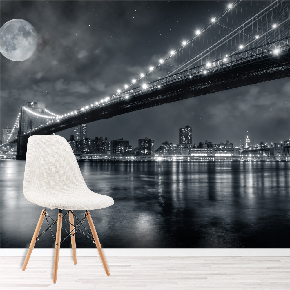Brooklyn bridge new york wall mural black white photo for Brooklyn bridge wallpaper mural