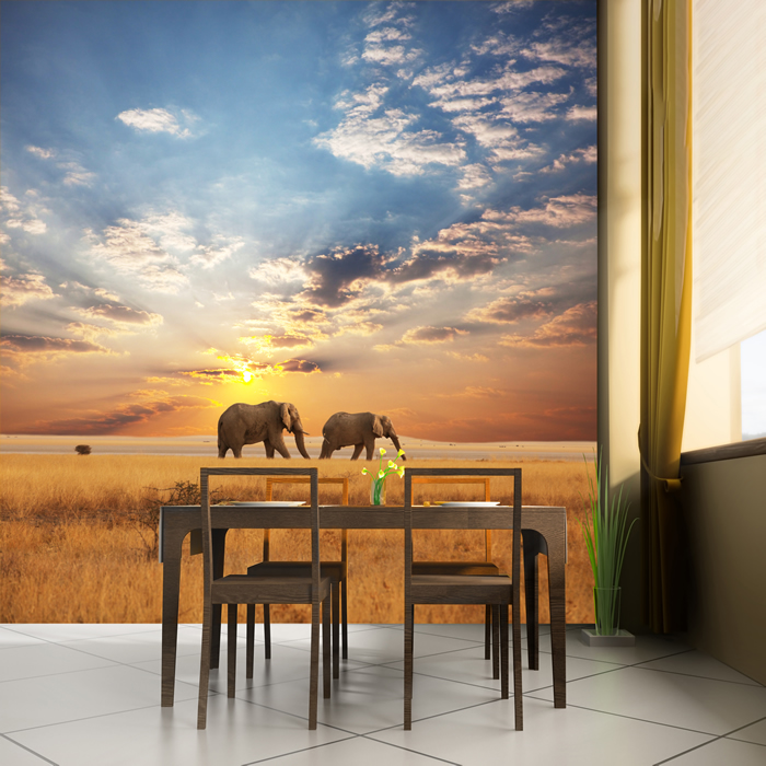 Elephants in savannah african safari animal wall mural for African wall mural