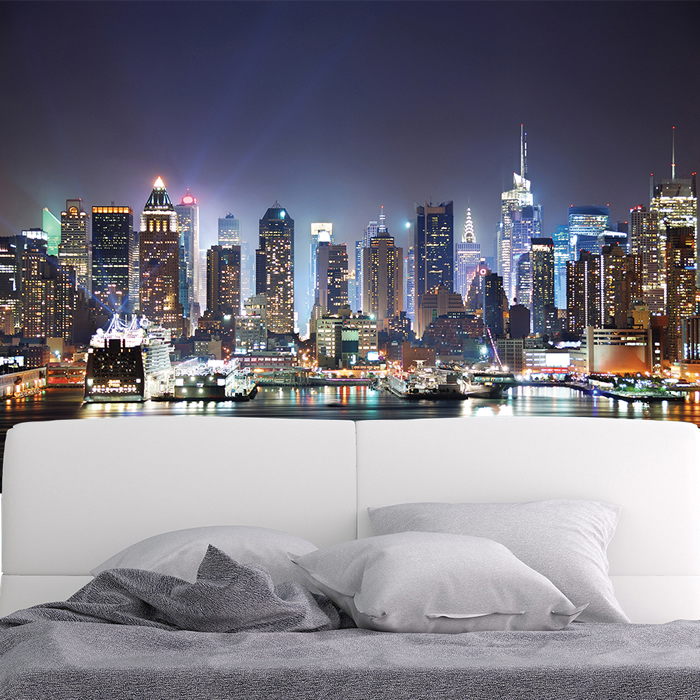 New york city skyscrapers at night skyline wall mural for Cityscape wall mural