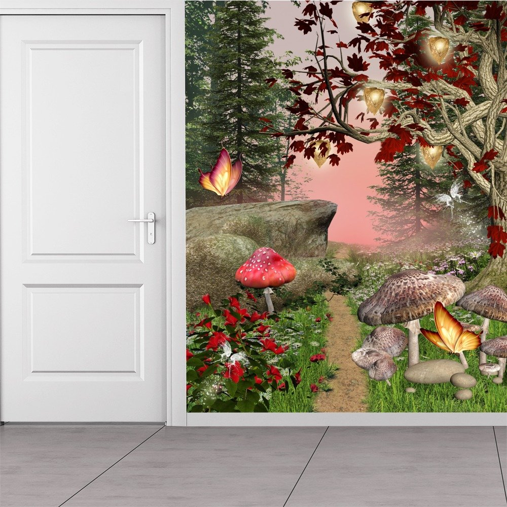 Enchanted forest wall mural red butterfly trees photo for Enchanted forest wall mural