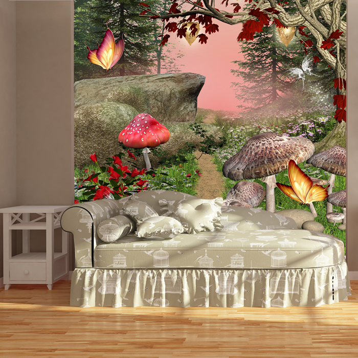 Enchanted forest butterflies mushrooms fantasy wall for Enchanted forest bedroom wall mural