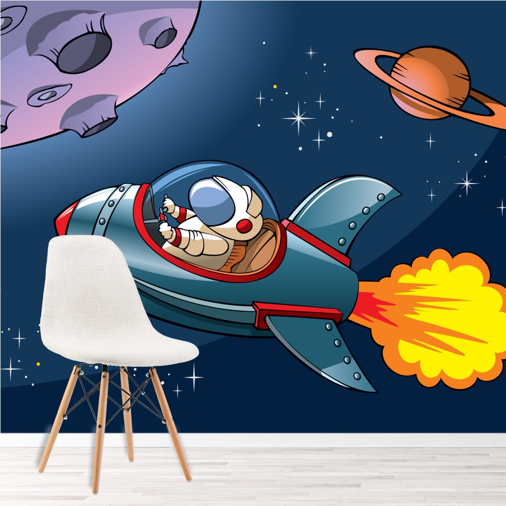 Space wall mural planets rocket photo wallpaper boys for Space wallpaper for kids room