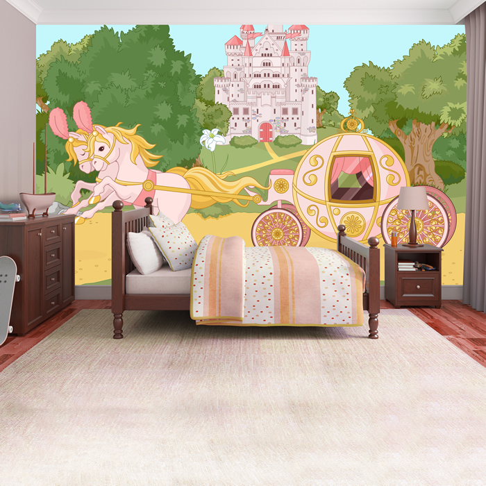 Princess castle wall mural for Castle mural kids room