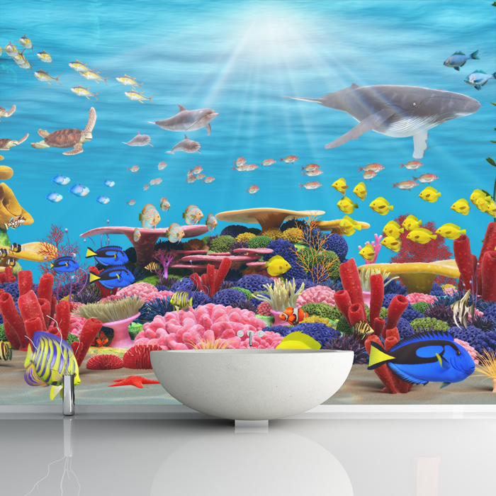 Vibrant coral reef sea animals kids wall mural under the for Coral reef mural