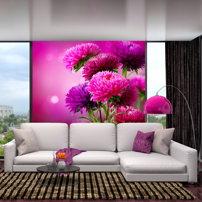 Pink Thistle Flowers Wall Mural Floral Photo Wallpaper Girls Bedroom Home  Decor Part 86