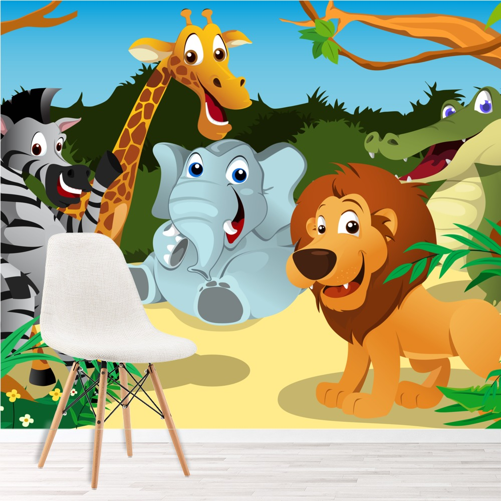 safari animals wall mural jungle photo wallpaper kids