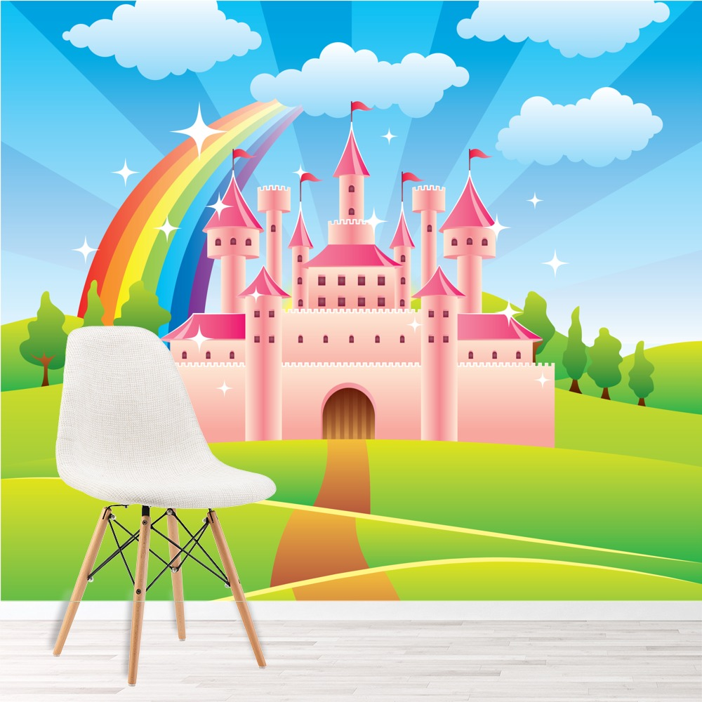 Pink princess castle wall mural fairytale rainbow photo for Castle mural wallpaper