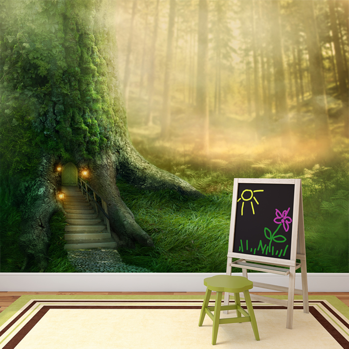 magical tree house in enchanted forest fantasy wall mural