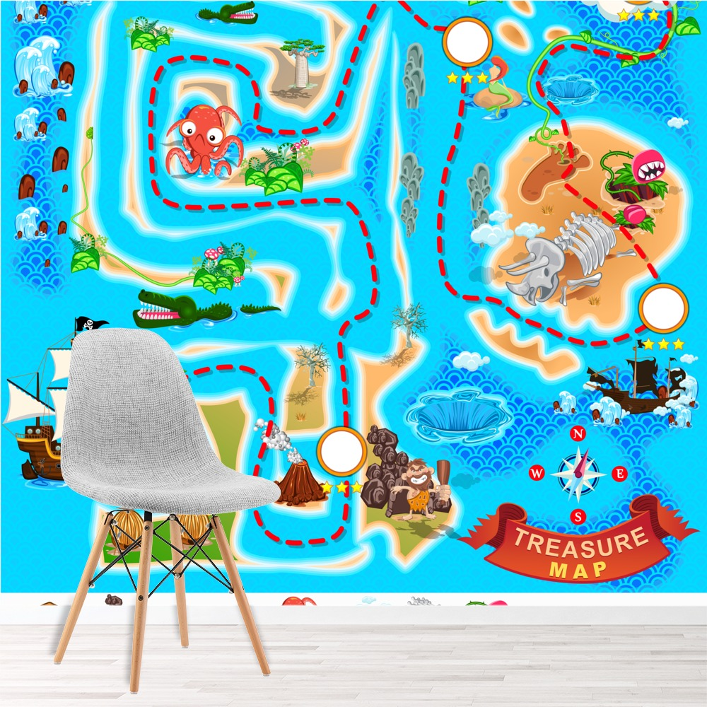 pirate wall mural blue treasure map photo wallpaper boys pirate wall mural cam and zach s room pinterest