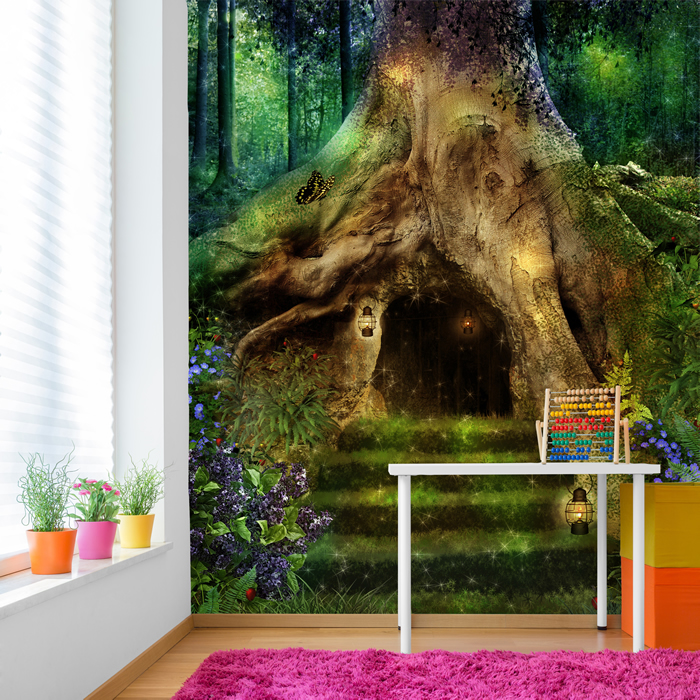 Magical tree house in a forest fantasy fairytale wall for Fairy forest mural