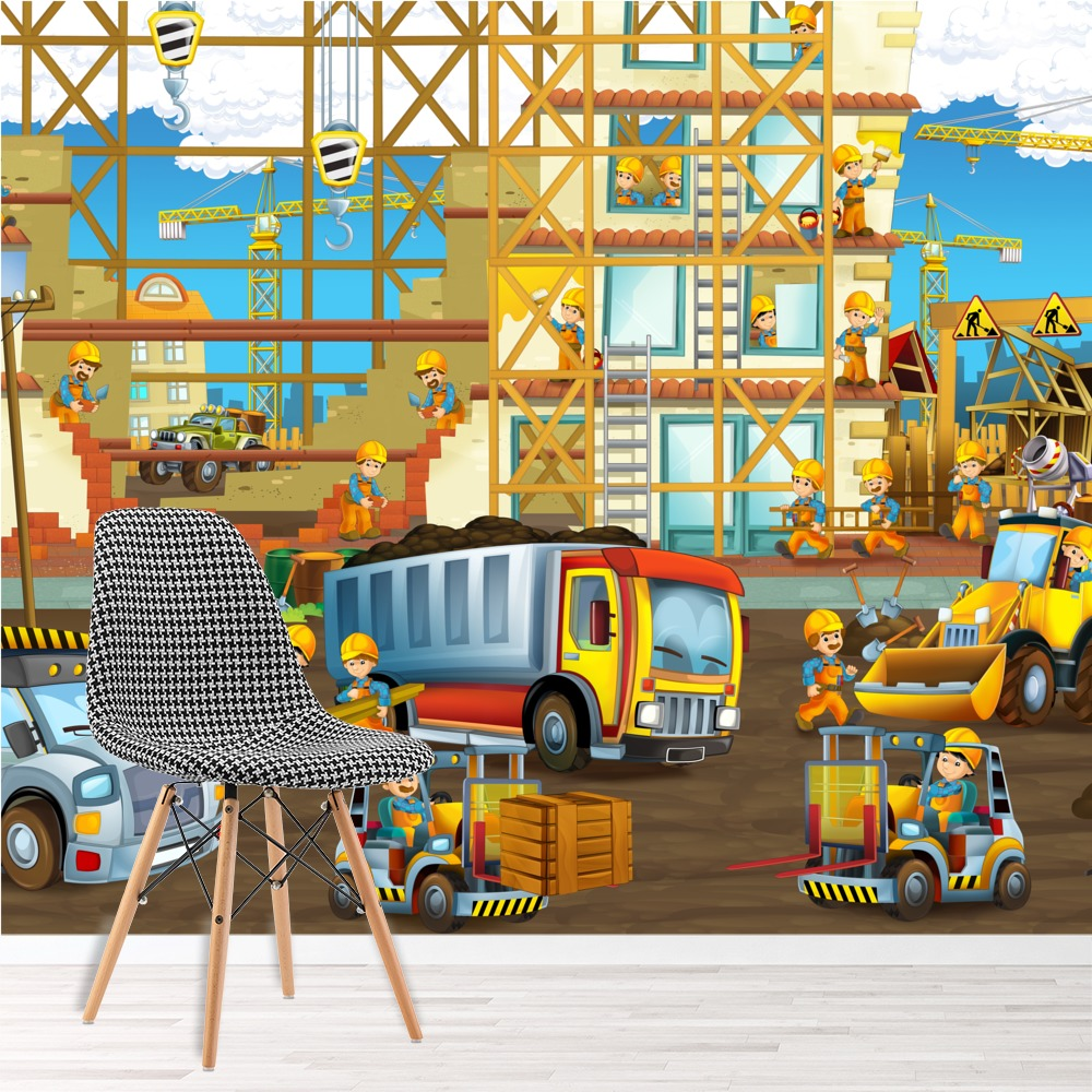 construction site wall mural truck digger photo wallpaper