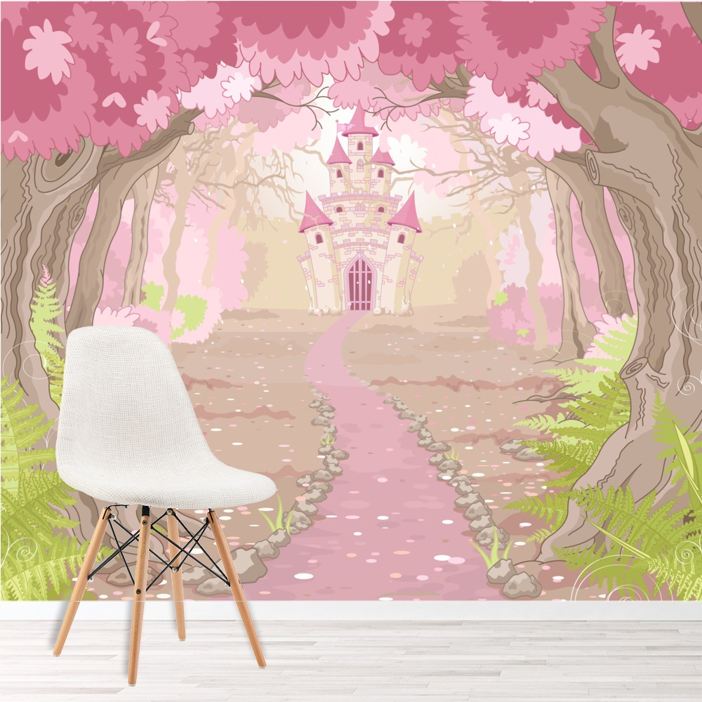 Pink princess castle wall mural fairytale photo wallpaper for Castle mural wallpaper