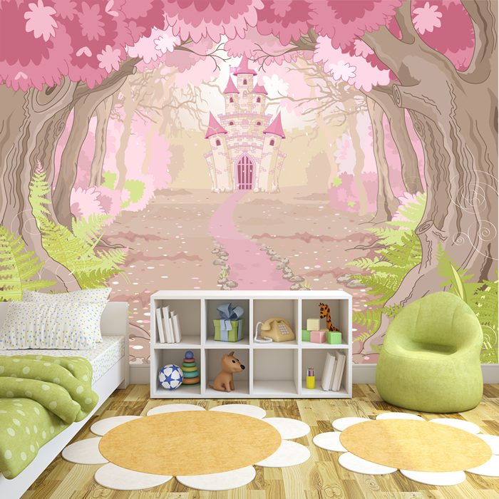 Pink princess castle wall mural fairytale photo wallpaper for Castle mural kids room