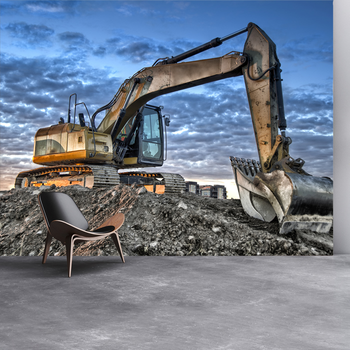 Construction excavator building machinery wall mural for Construction mural