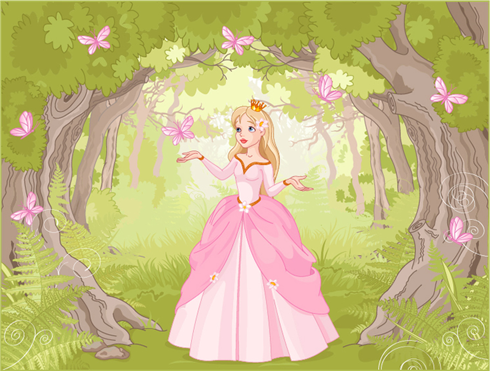 Princess enchanted woods wall mural fairytale photo for Fairy princess mural