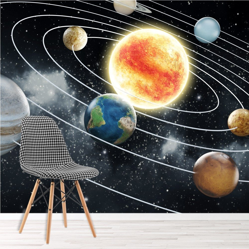 Nice Space Wall Mural Planets Solar System Photo Wallpaper Kids Bedroom Home  Decor Part 29