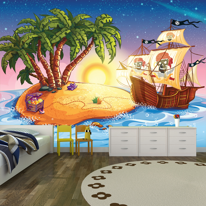 Pirate ship treasure island cartoon pirate wall mural for Cartoon mural wallpaper