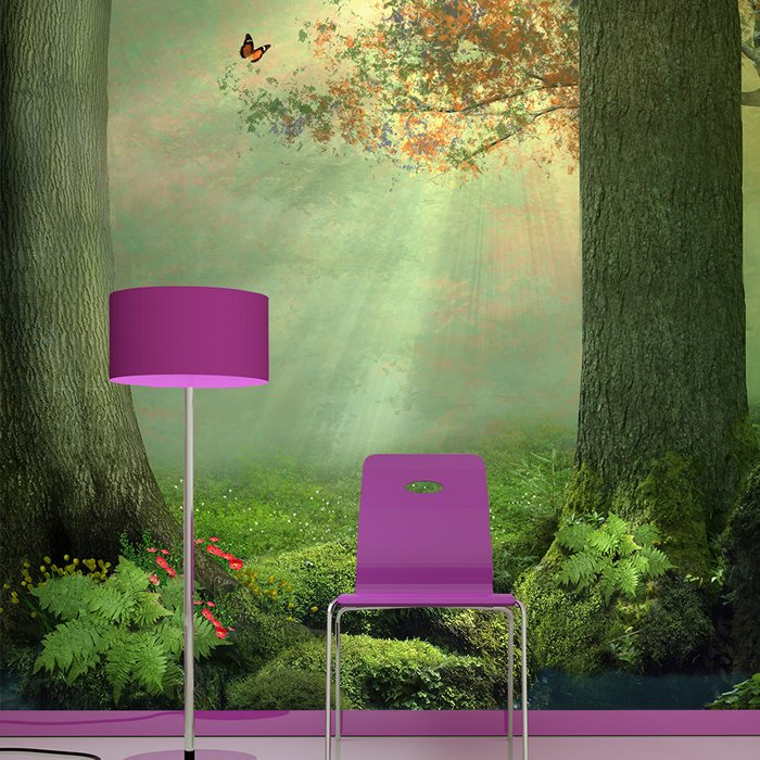 Enchanted forest wall mural butterfly tree photo wallpaper for Enchanted forest mural wallpaper