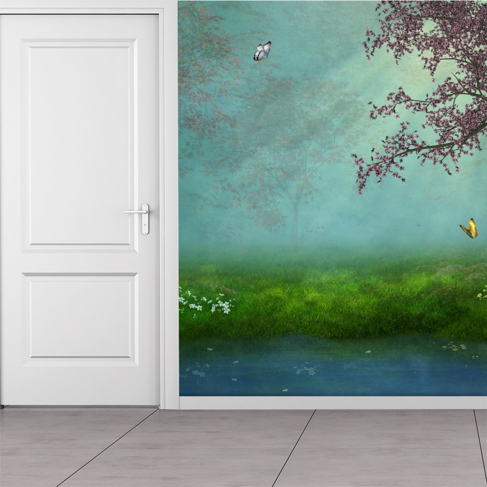 Blossom tree butterflies over pond fantasy forest wall for Butterfly mural wallpaper