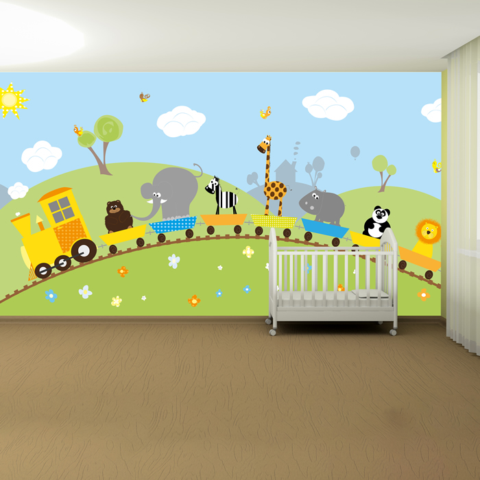 Safari Animals Wall Mural Train Photo Wallpaper Nursery Kids Home Decor Part 96
