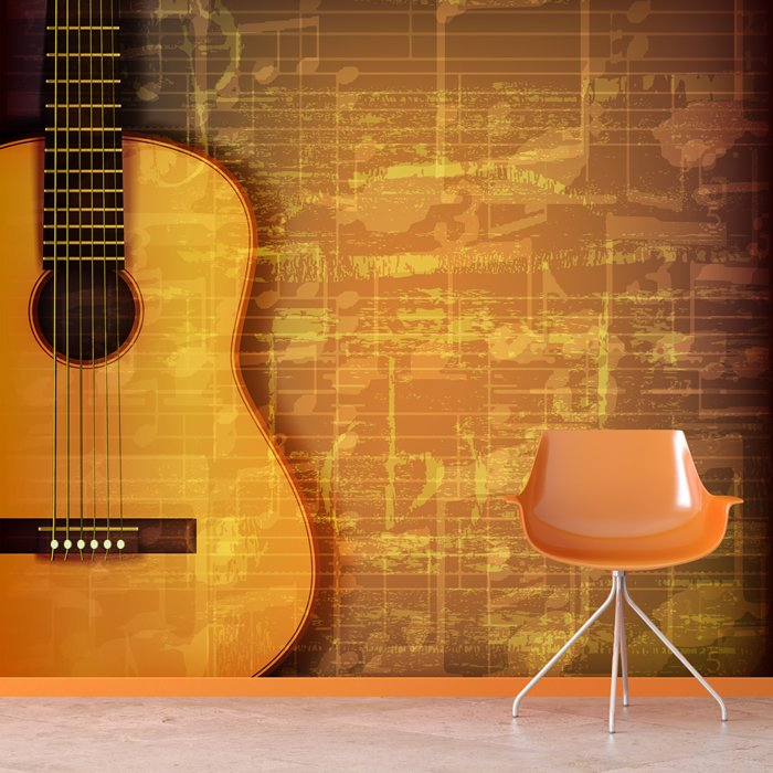 Acoustic Guitar & Music Sheet Abstract Grunge Music Wall ...