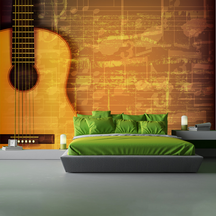 Acoustic Guitar Wallpaper For Facebook Cover With Quotes: Acoustic Guitar & Music Sheet Abstract Grunge Music Wall