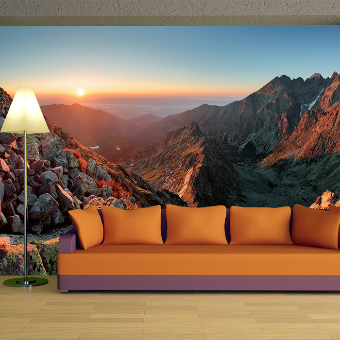 Mountain Wall Mural red rocky mountains wall mural sunset landscape photo wallpaper