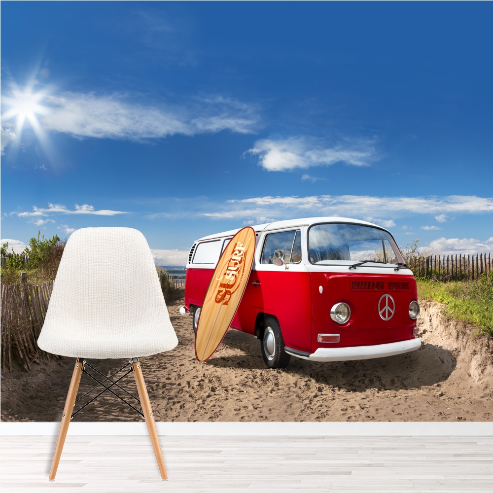 Vw campervan with surfboard on beach transport wall mural for Campervan wall mural
