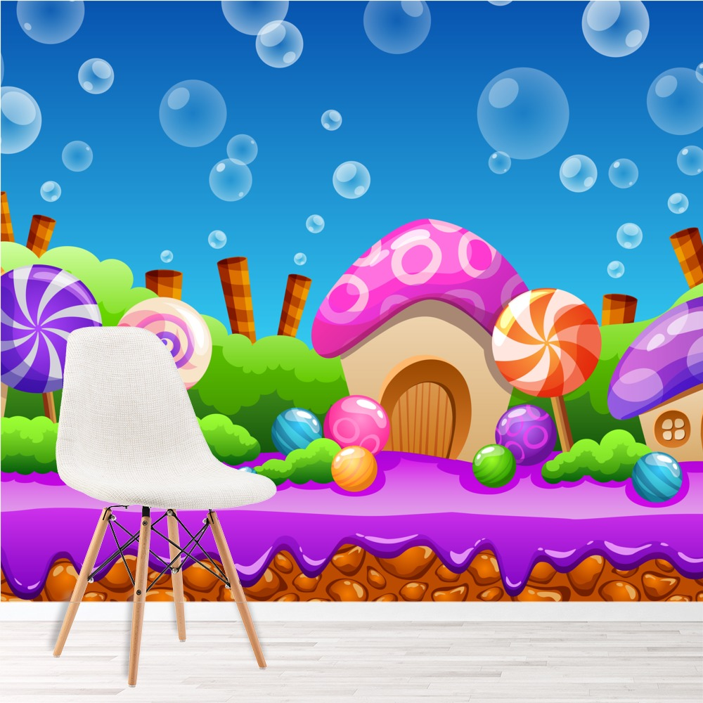 cartoon candy land fairytale amp fantasy wall mural kids christmas gingerbread candyland door wall mural cover