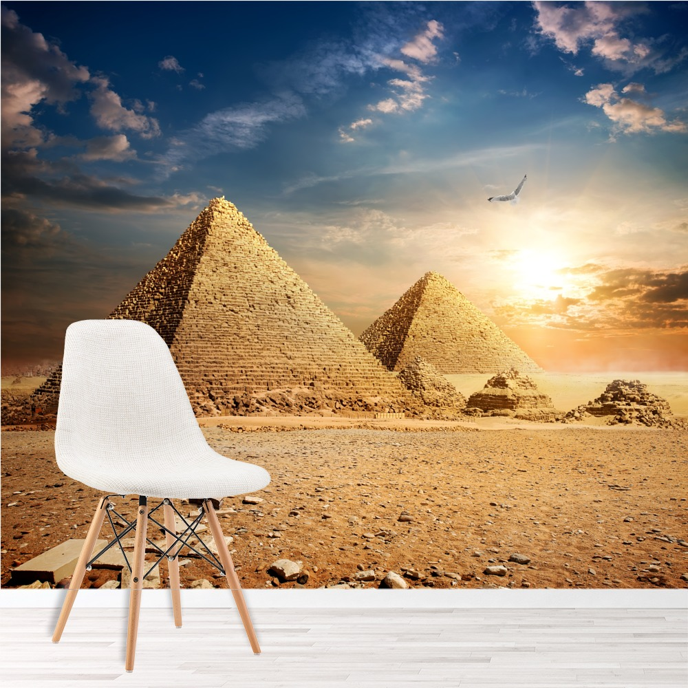 Egyptian pyramids at sunset landmarks wall mural landscape for Egyptian wallpaper mural