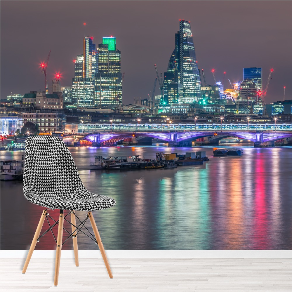 london uk city lit up at night skyline wall mural uk. Black Bedroom Furniture Sets. Home Design Ideas
