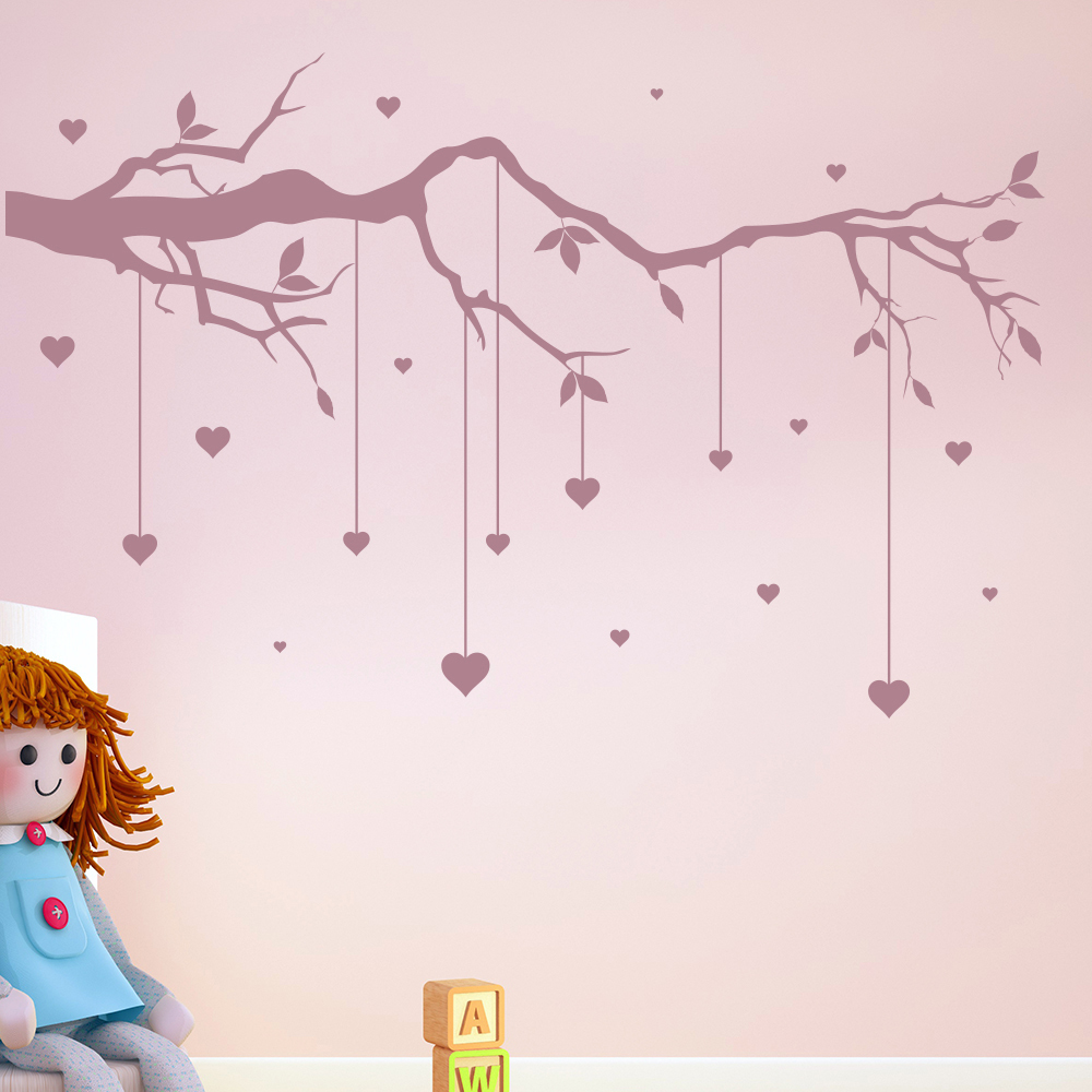 Tree Branch Cot Mobile Wall Sticker Heart Wall Decal Baby Nursery Decor Part 53