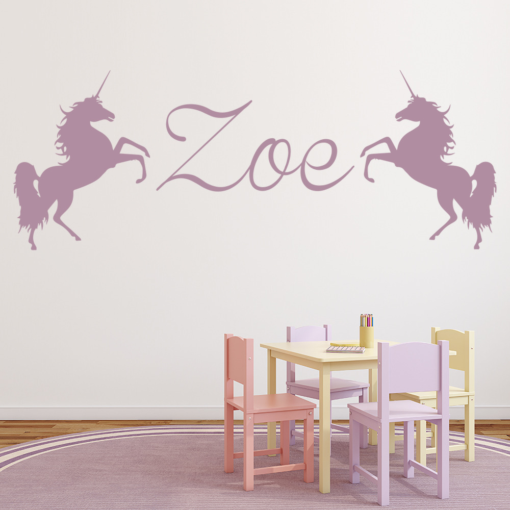 Personalised Name Wall Sticker Unicorn Wall Decal Girls ...