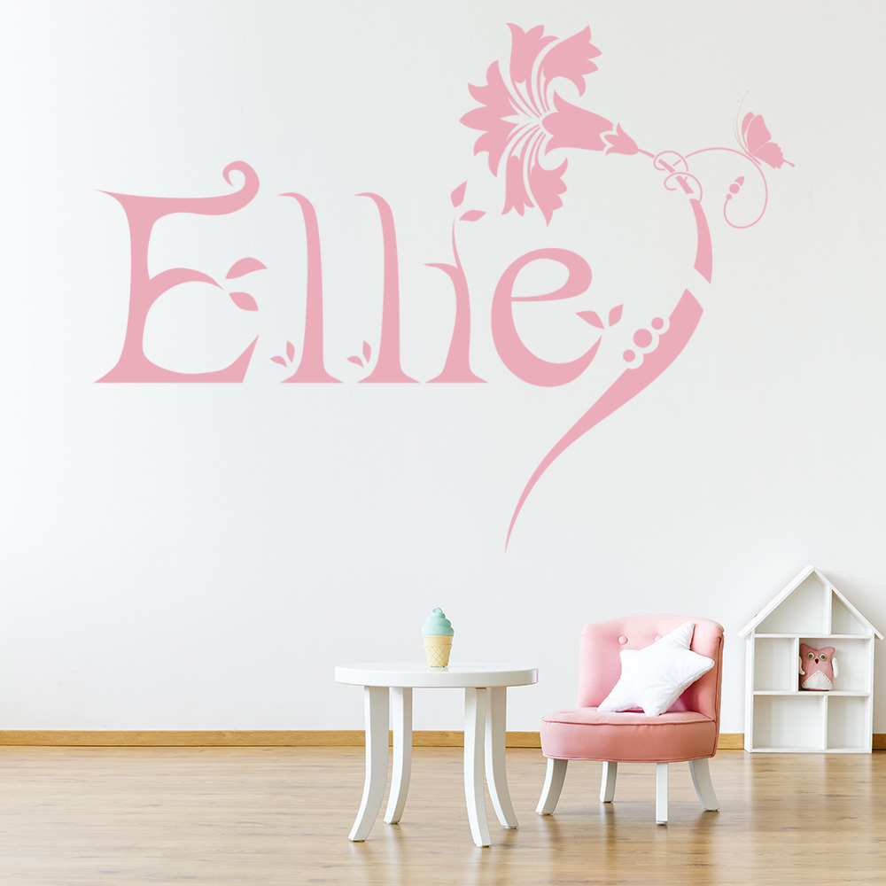 personalised name wall sticker flower wall decal girls