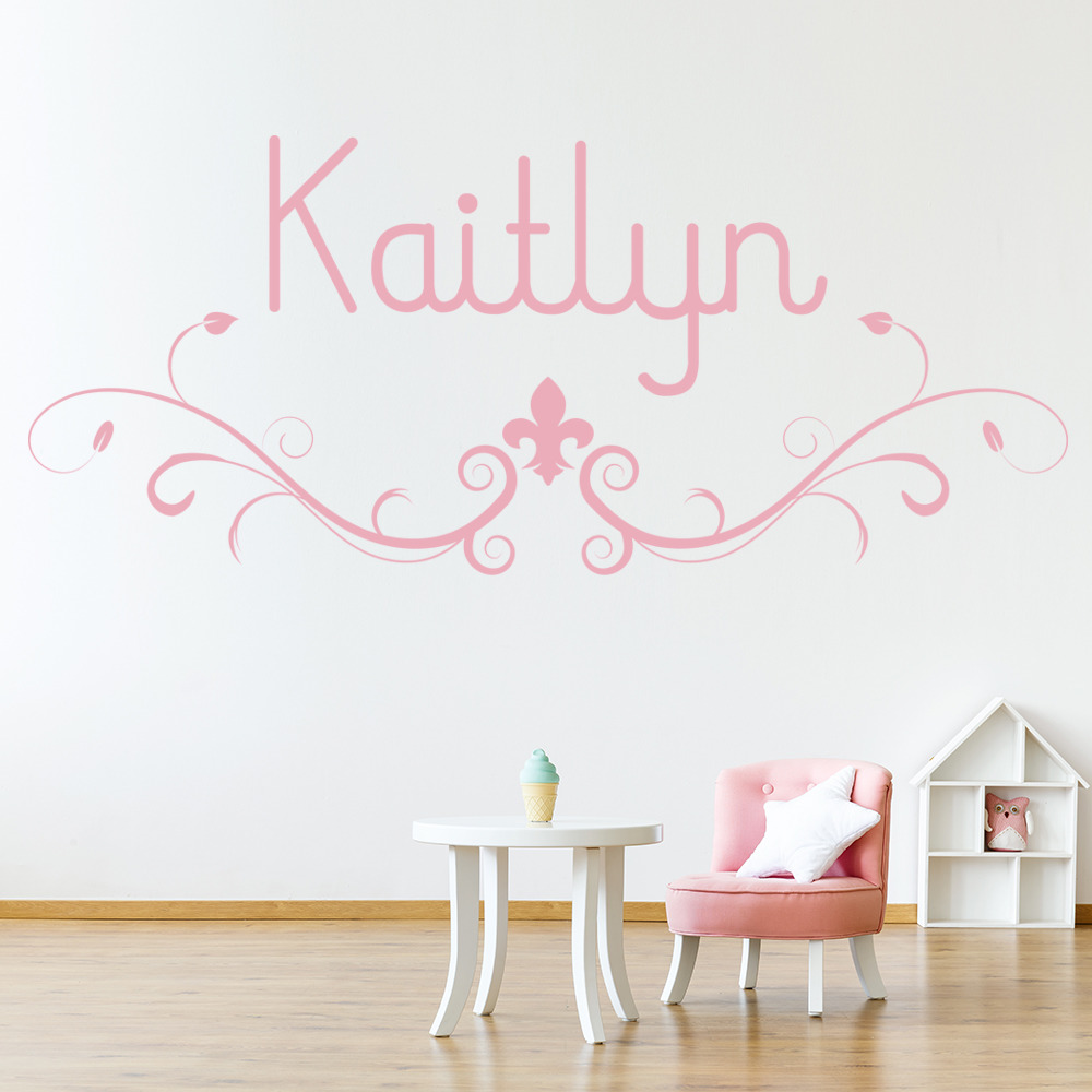 personalised name wall sticker fleur de lis wall decal fleur de lis wall stickers embellishment wall art