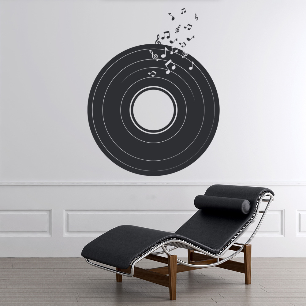 Vintage vinyl record wall sticker retro music wall decal for Vinyl record wall art