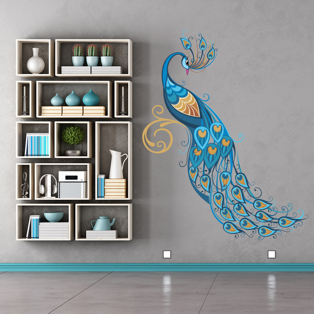 colourful peacock blue feathers birds colour wall stickers home decor art decal ebay. Black Bedroom Furniture Sets. Home Design Ideas
