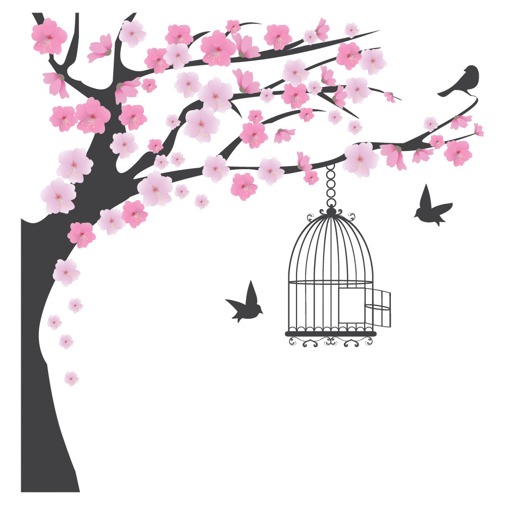 pink blossom tree wall sticker bird cage wall decal