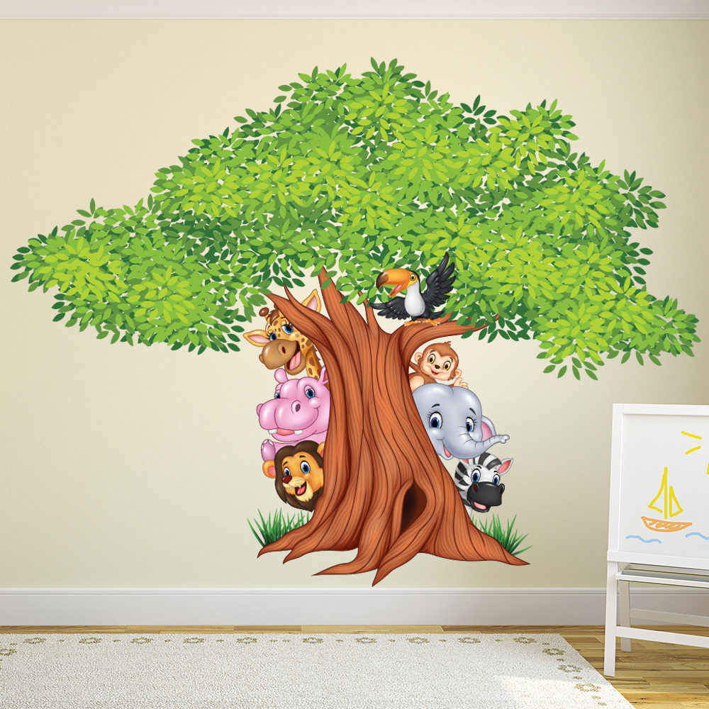Wall Art Stickers Jungle : Jungle animals hiding behind tree colour wall