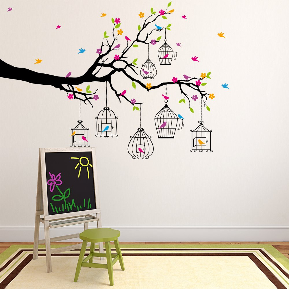 Branch bird cages wall sticker arbre animal sticker - Stickers muraux decollable ...