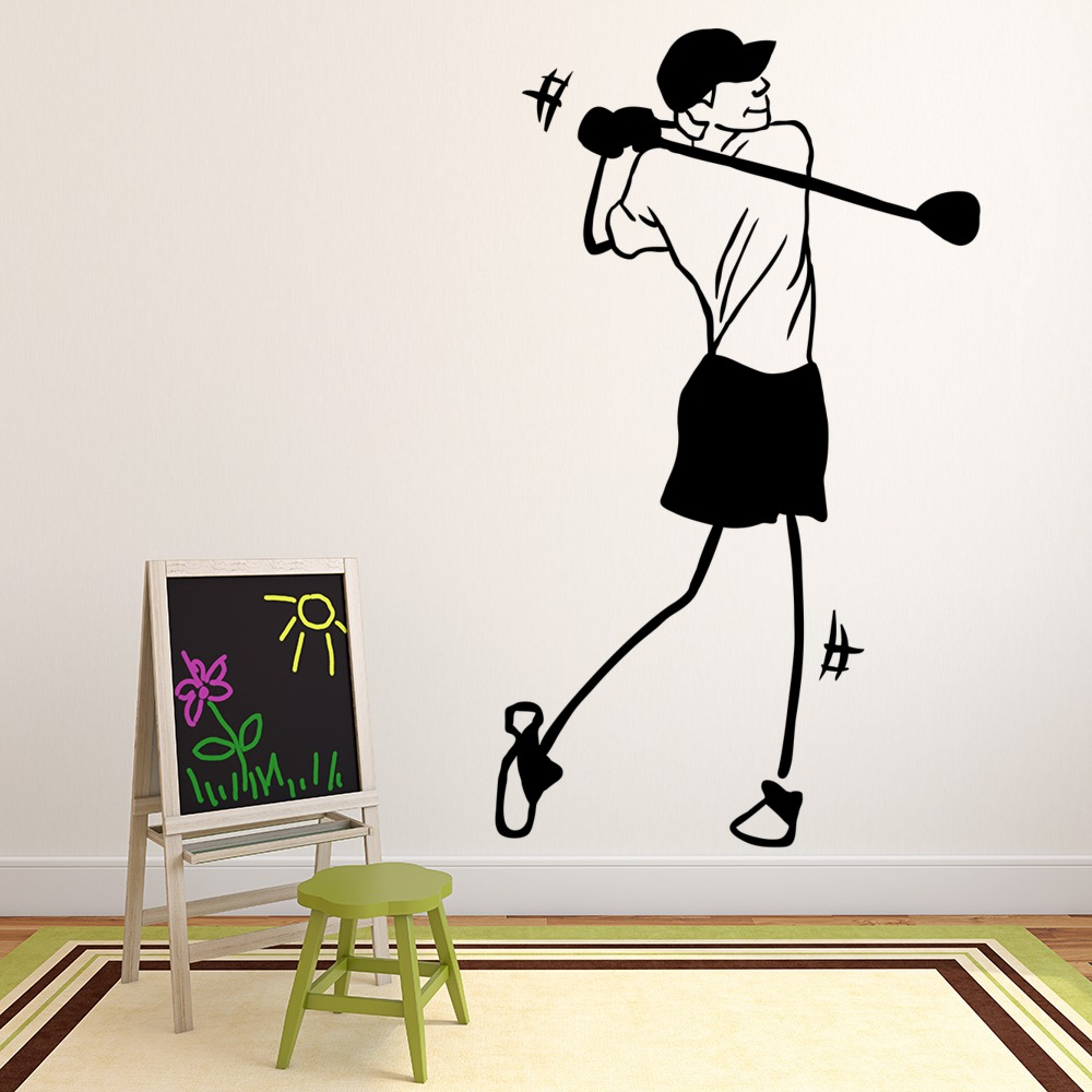 Stick figure golf player golf club swing golf wall stickers gym stick figure golf player golf club swing golf wall stickers gym sport art decals amipublicfo Gallery