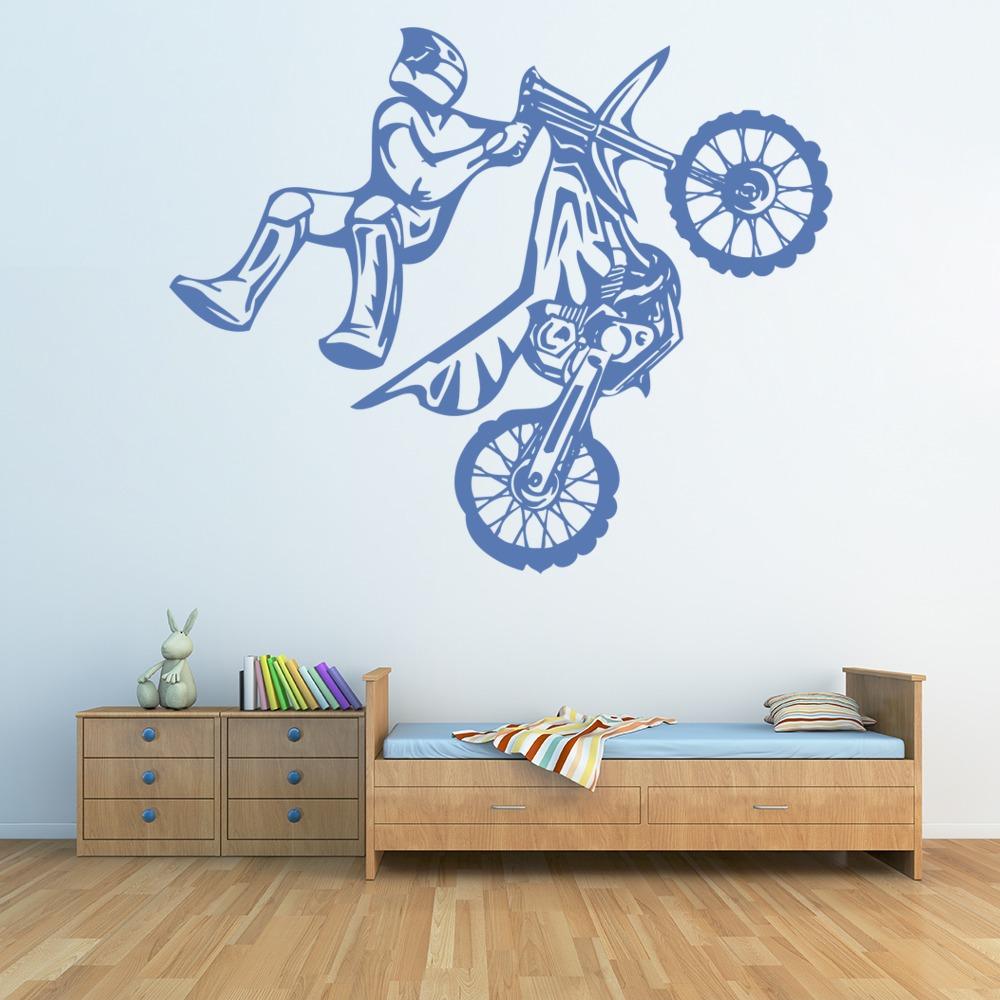 Stunt bike motocross wandaufkleber motorrad wandtattoo jungen schlafzimmer ebay - Motorrad wandtattoo ...